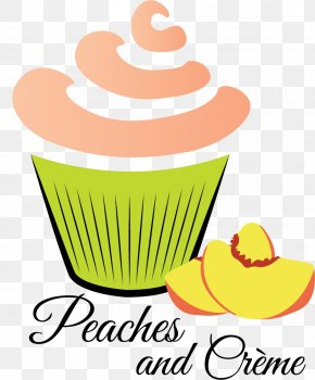 Tasting Peach - Cupcake Bakery Clip Art Product PNG