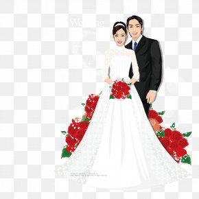 Rose Bride Wear A Wedding Dress - Contemporary Western Wedding Dress Bride PNG