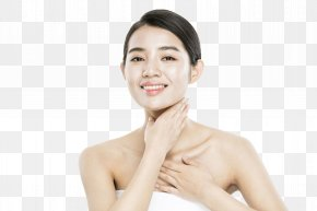 A Smooth Woman Stroking Her Neck - Chin Face Woman Cosmetology PNG