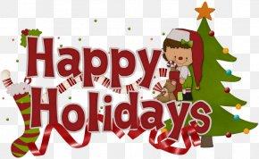 Summer Holiday Banner Happy Holidays - Clip Art Christmas Tree Holiday Santa Claus Illustration PNG