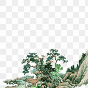 Hillside Hut - Chinese Painting Wall Mural PNG