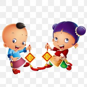 Cartoon Doll - Chinese New Year Cartoon Doll Child Dragon Dance PNG