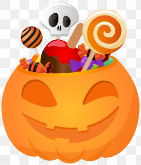 Halloween Pumpkin With Candy PNG Clip Art Image - Jack-o'-lantern Halloween Clip Art PNG