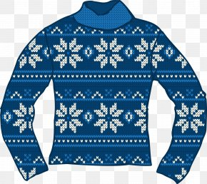 Blue Snowflake Sweater - T-shirt Sweater Christmas Jumper PNG