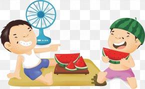 Eat Watermelon Children - Watermelon Eating Illustration PNG