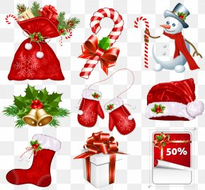 9 Red Christmas Icon Vector Material - Christmas Symbol Candy Cane Clip Art PNG