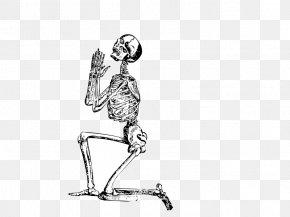 One Knee Skeleton Frame - Human Skeleton Prayer Clip Art PNG