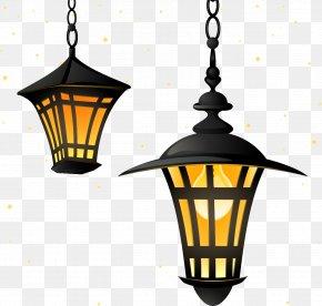 Cartoon Painted Lamp - Street Light Lantern Lighting PNG