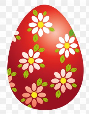 Easter Red Egg With Flowers Clipart Picture - Easter Bunny Red Easter Egg Clip Art PNG