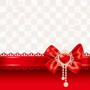 Red Festive Greeting Card Vector - Pink Ornament Wallpaper PNG