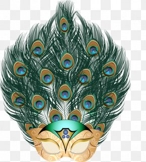 Peafowl - Mask Mardi Gras Masquerade Ball Feather Peafowl PNG