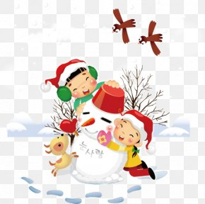 Vector Winter Elements - Christmas Child Euclidean Vector Snowman PNG