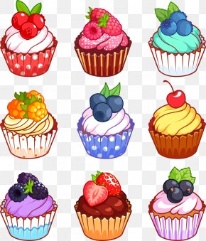 Vector Fruit Cupcake - Cupcake Muffin Gugelhupf Cartoon PNG