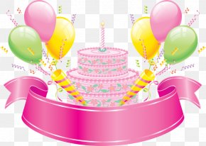 Pink Birthday Cake Design Elements - Happy Birthday To You Happiness Wish Greeting Card PNG