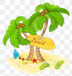 Transparent Beach Palm Decor Clipart - Beach Clip Art PNG