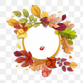 Hand Painted Autumn Leaf Circular Background - Autumn Leaf Color Autumn Leaf Color Euclidean Vector PNG