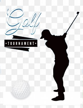 Golf Black Silhouette Figures - Golf Course Golf Ball Tournament Flyer PNG
