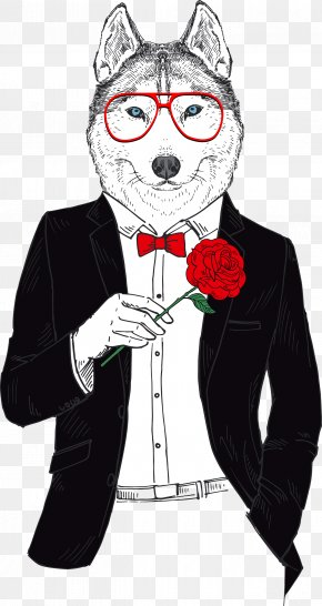 Mr. Wolf - T-shirt Gray Wolf Tuxedo Sleeveless Shirt Animal PNG