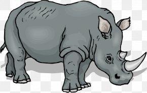 Cartoon Rhino - Black Rhinoceros Clip Art PNG