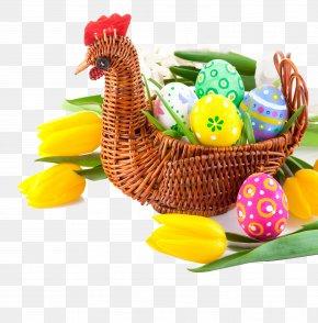 Easter Eggs - Egg In The Basket Easter Egg Tulip PNG