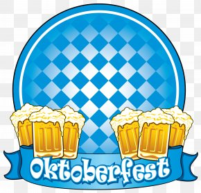 Oktoberfest Blue Decor With Beers Clipart Image - Oktoberfest Clip Art PNG