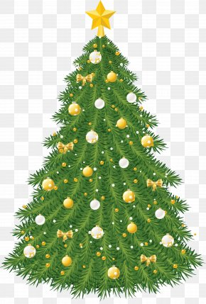 Large Transparent Christmas Tree With Gold And White Ornaments - Christmas Tree Christmas Ornament Clip Art PNG