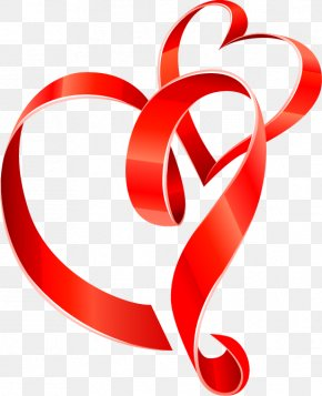 Red Ribbon - Ribbon Heart Euclidean Vector Clip Art PNG