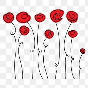 Vector Rose Red Lines - Doodle Rose Drawing PNG