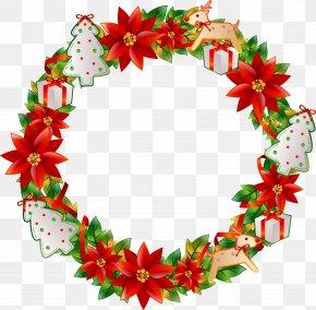 Christmas Flower Circle - Christmas Wreath Flower PNG
