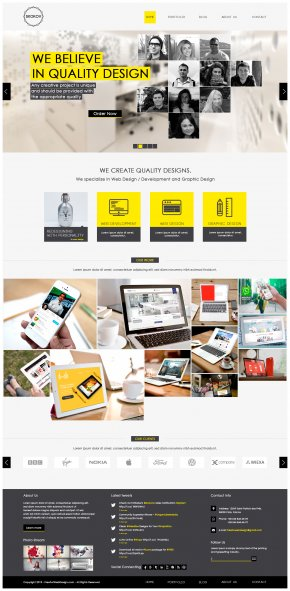 Yellow And Black Web Template - Responsive Web Design Web Template System PNG