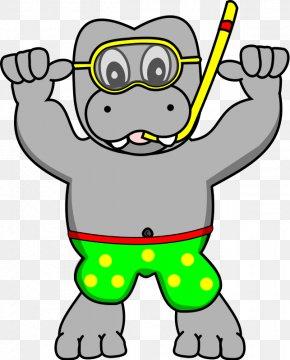 Snorkel Clip - Snorkeling Hippopotamus Diving Mask Clip Art PNG