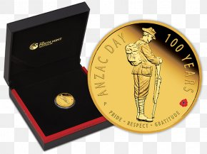 Anzac Day Poppy - Coin Gold Anzac Day Australia First World War PNG