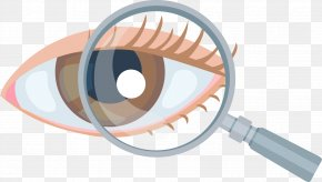 Magnifying Glass On Glasses - Eye Magnifying Glass Ophthalmology PNG
