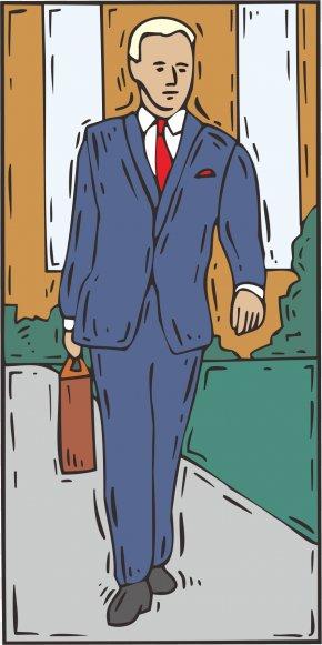 Walking Man - Cartoon Walking Illustration PNG
