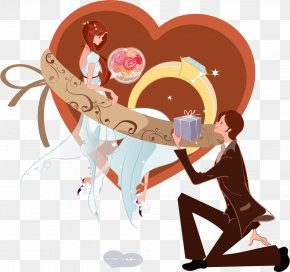 Knees To The Bride And Groom Gift - Marriage Proposal Cartoon Significant Other PNG