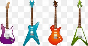 Musical Equipment Electric Guitars In Four Different Shapes - Electric Guitar Musical Instrument Clip Art PNG