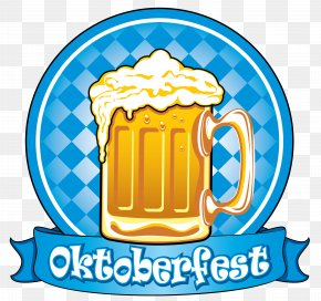 Oktoberfest Blue Decor With Beer Clipart Picture - Beer Bottle Label PNG