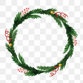 Holly Wreath Decoration Vector Illustration - Wreath Holly Christmas Ornament PNG