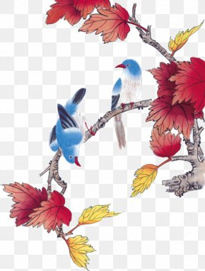 Bird - Bird-and-flower Painting Gongbi Chinese Painting PNG