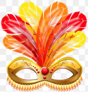 Gold Feather Carnival Mask Clip Art Image - Mask Carnival Clip Art PNG