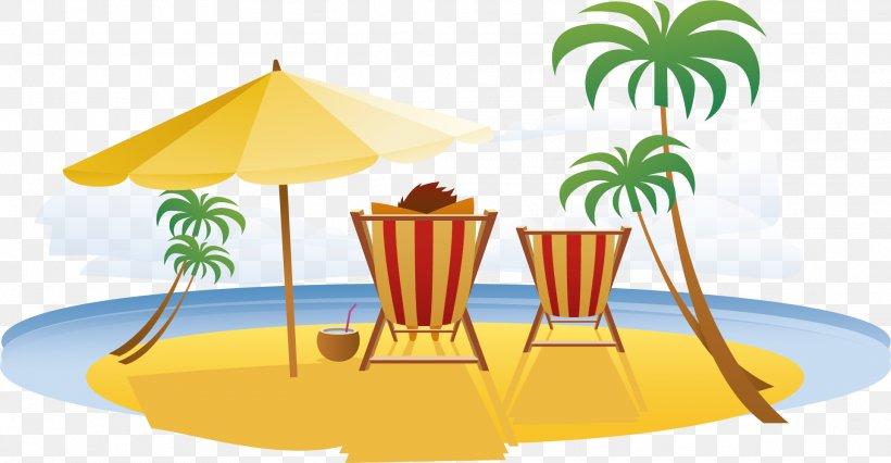 Beach Vacation Seaside Resort Travel, PNG, 1923x1001px, Beach, Area, Deckchair, Flat Design, Resort Download Free