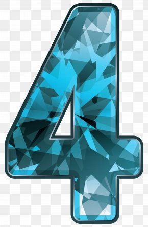 Blue Crystal Number Four Clipart Image - Blue Number Clip Art PNG