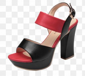 Red And Black With High Heels Sandals - High-heeled Footwear Sandal Dress Shoe PNG