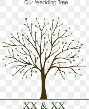 Wedding Tree Vector - Wedding Invitation Guestbook Tree Fingerprint PNG
