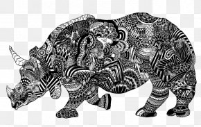 Chinese Style Black And White Rhino Ornament - Rhinoceros Black And White Visual Arts Illustration PNG