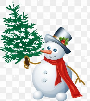 Snowman With Tree Clipart - Snowman Christmas Santa Claus Clip Art PNG