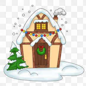 Drawing House - Gingerbread House Santa Claus Christmas Tree Christmas Ornament PNG