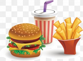Vector Burger Fries Drinks - Hamburger Cheeseburger Fast Food French Fries Coca-Cola PNG