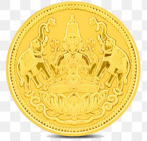 Lakshmi Gold Coin Transparent Background - Ganesha Akshaya Tritiya Dhanteras Lakshmi Diwali PNG