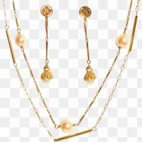 Necklace - Pearl Earring Necklace Body Jewellery Gold PNG